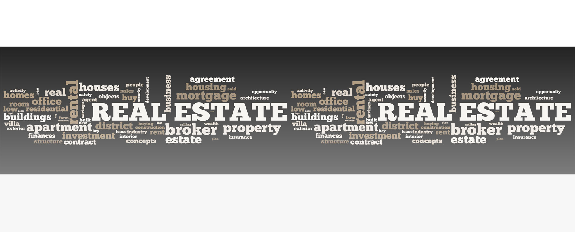 Collage of terms relating to real estate buisness.